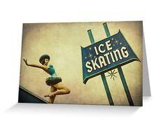 Ice Skating Rink Vintage Signage Greeting Card