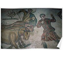 Man facing harnessed bulls floor mosaic Piazza Armerina 19840326 0053 Poster