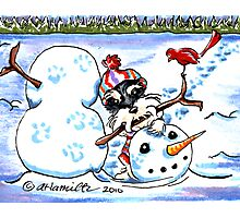 Schnauzer Fun with Snowman Photographic Print