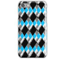 Sponge Textured Checkered Blue, Grey, Black, & White iPhone Case/Skin
