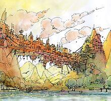 La citta' ponte! by Luca Massone  disegni