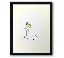 Coffee cafe plant and beans brown green watercolor painting kitchen art Framed Print