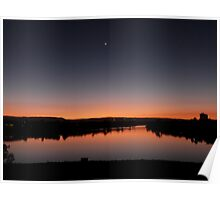 Moon smiling over the Lake at Sunset Poster