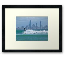Surfer in front of Surfers Framed Print