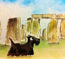 Archy at Stonehenge  by archyscottie