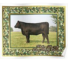 Black Angus Heifer Blank Christmas Greeting Card Poster