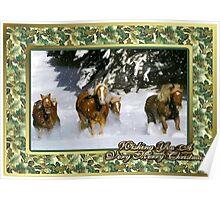 Haflinger Horse Christmas Card Poster