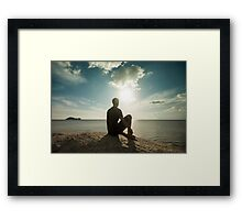 Man Watching Sunset by the Ocean Framed Print