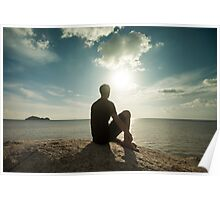 Man Watching Sunset by the Ocean Poster