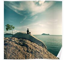 Man Meditating By The Ocean Poster
