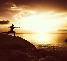 Warrior Yoga at Sunset by visualspectrum
