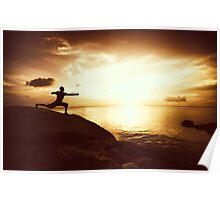 Warrior Yoga at Sunset Poster