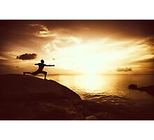 Warrior Yoga at Sunset Photographic Print