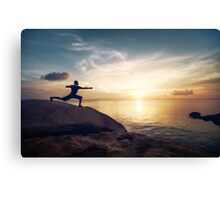 Warrior Yoga by the Ocean Canvas Print