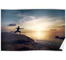 Warrior Yoga by the Ocean Poster
