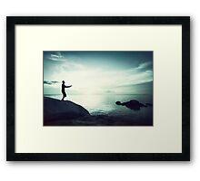 Sunset Yoga in Blue Tones Framed Print