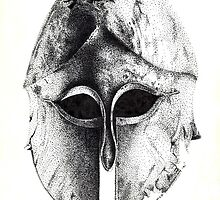 Greek Helm in Pen and Ink by Cleave