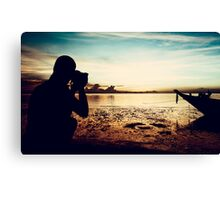 Landscape Photographer at Sunset Canvas Print