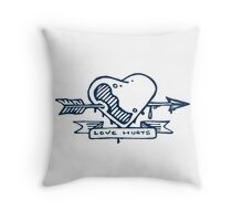 Love hurts, heart and arrow Throw Pillow