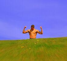 Muscle man in sunshine  by Debra Kurs