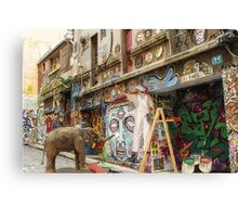Graffiti Artists at Work in Hosier Lane Melbourne  Canvas Print