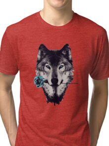 Wolf With a Rose Tri-blend T-Shirt
