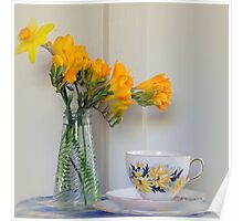 Afternoon tea with Freesias Poster