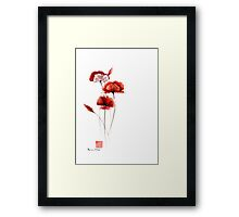 Red and orange poppies nature field watercolor painting summer fragrances Framed Print
