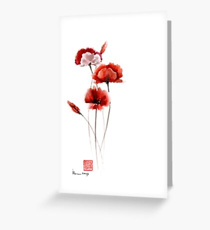 Red and orange poppies nature field watercolor painting summer fragrances Greeting Card