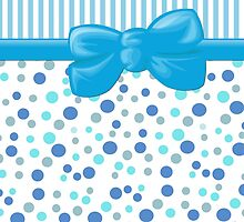Ribbon, Bow, Dots, Spots, Stripes - Blue White  by sitnica