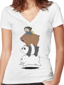 We bare Bears Bearstack! Women's Fitted V-Neck T-Shirt