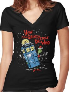 How the Grinch Stole Dr Who (on Dark) Women's Fitted V-Neck T-Shirt