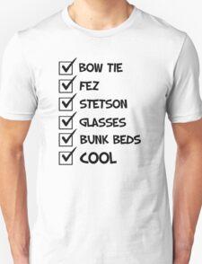 Cool Whovian Checklist - black text T-Shirt