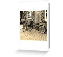 Bicycles in sepia Greeting Card