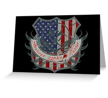 American Zombie Hunter shield Greeting Card