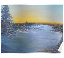 Sunrise over snowy trail Poster