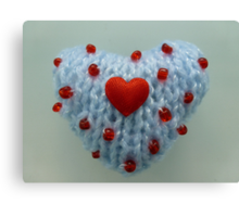 Hand Knitted Heart Canvas Print