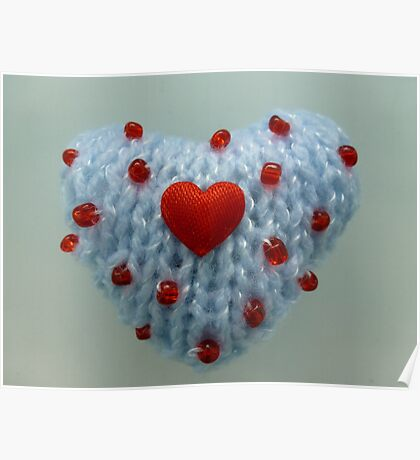 Hand Knitted Heart Poster