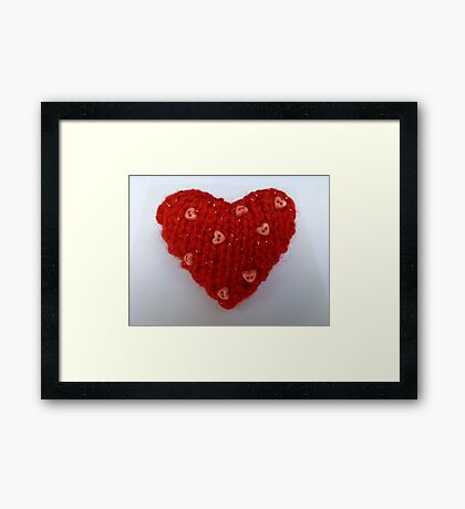 Red Hand Knitted Heart Framed Print