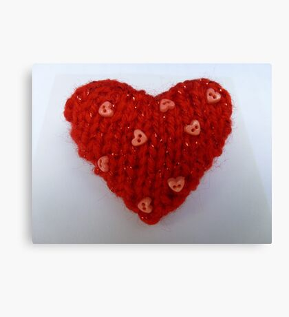 Red Hand Knitted Heart Canvas Print