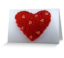 Red Hand Knitted Heart Greeting Card