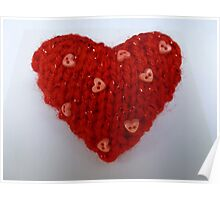 Red Hand Knitted Heart Poster