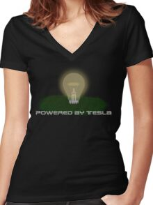 Powered by Tesla - Bulb Women's Fitted V-Neck T-Shirt