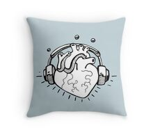 Listening cartoon human heart Throw Pillow