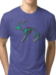 Skeletal deer - Green Tri-blend T-Shirt