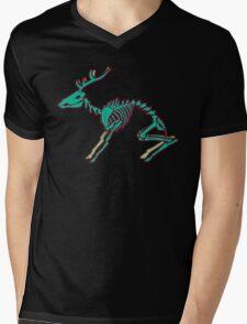 Skeletal deer - Green Mens V-Neck T-Shirt