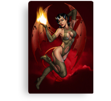 Sexy Devil Girl Holding a Flame For You by Al Rio Canvas Print