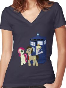Dr. Whooves Design Women's Fitted V-Neck T-Shirt