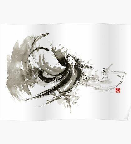 Geisha dancer dancing girl Japanese woman original painting  Poster