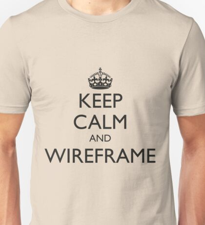 Keep Calm and Wireframe (for light coloured tops) Unisex T-Shirt